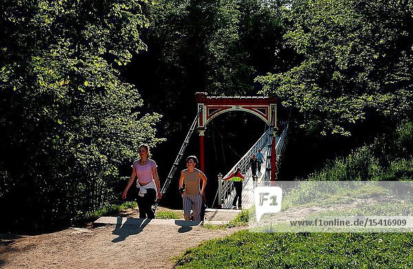 The suspension bridge (length is over 50 metres) was mounted in the Castle Hills in 1931 and it was reconstructed in 1995.
