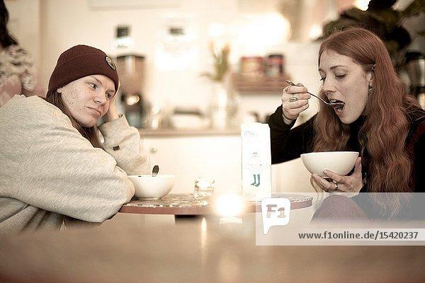 Couple eating breakfast  in Berlin  Germany