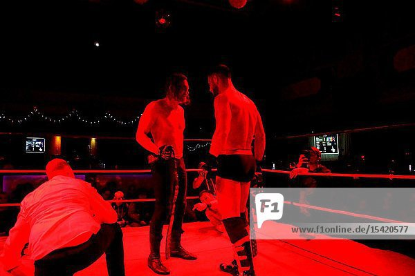 Kiel  Germany - December 08  2018. The Purge Match (TLC) between Muskelkater and Purge Club for the Maximum Tag Team Titles