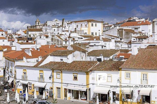 Cityscape of Evora and 1º de Maio Square  Alentejo Region  Portugal  Europe.