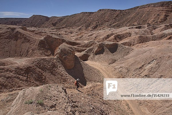 Trekking through amazing desert landscape in the Valle Marte  San Pedro de Atacama  Chile.