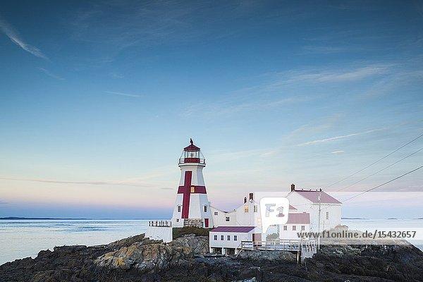 Canada  New Brunswick  Campobello Island  Head Harbour Lightstation lighthouse  dusk.