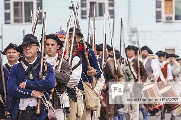 USA  New England  Massachusetts  Cape Ann  Gloucester  re-enactors of the Battle of Gloucester  August 8-9  1775  battle convinced the Americans of the need of creating an American Navy to fight against the British  NR.