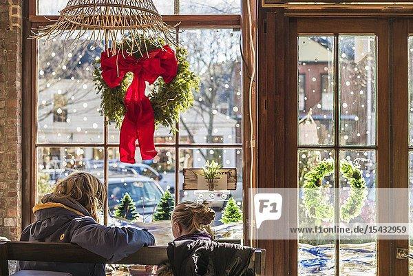USA  New England  Massachusetts  Nantucket Island  Nantucket Town  interior of cafe with Christmas decarations  NR.