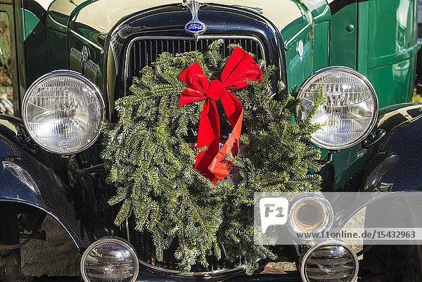 USA  New England  Massachusetts  Nantucket Island  Nantucket Town  old bus  with Christmas wreath.