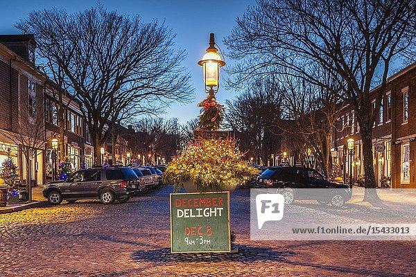 USA  New England  Massachusetts  Nantucket Island  Nantucket Town  Main Street  Christmas decaration  dusk.