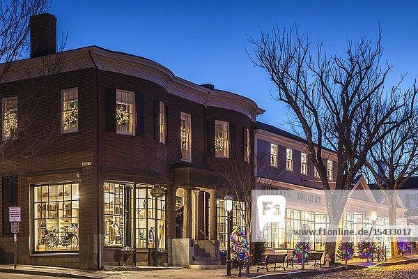 USA  New England  Massachusetts  Nantucket Island  Nantucket Town  storefront  Christmastime.