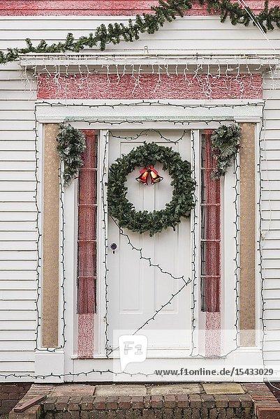 USA  New England  Massachusetts  Cape Cod  Provincetown  door with Christmas wreath.