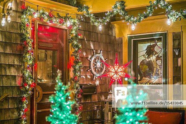 USA  New England  Massachusetts  Cape Cod  Provincetown  Christmas decorations.