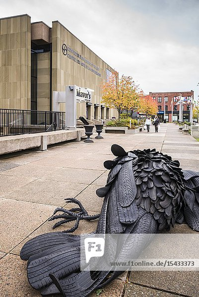 Canada  Prince Edward Island  Charlottetown  Road Kill Crows  sculpture by Gerald Beaulieu made of old tires  outside Confederation Centre of the Arts  NR.