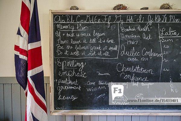 Canada  Prince Edward Island  Orwell  Orwell Corner Historic Village  Orwell School  b. 1895  interior with blackboard.