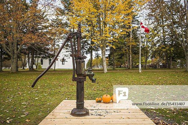 Canada  Prince Edward Island  Orwell  Orwell Corner Historic Village  hand operated water pump.