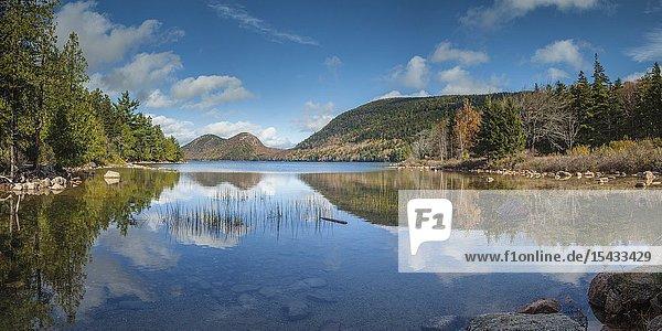 USA  Maine  Mt. Desert Island  Acadia National Park  Jordan Pond and The Bubbles  autumn.