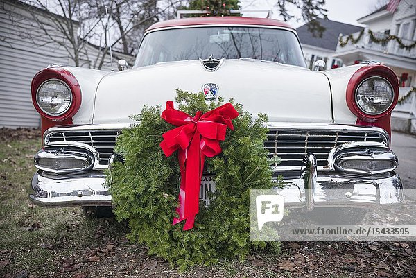 USA  Maine  Kennebunkport  antique Ford car with Christmas wreath.