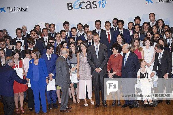 King Felipe VI of Spain  Queen Letizia of Spain attends 'La Caixa' Scholarship awards 2018 at Caixa Forum on May 28  2019 in Madrid  Spain