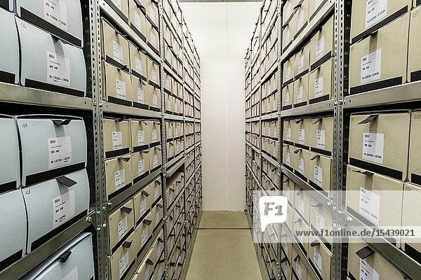 Berlin  Germany. The BStU is responsible for storage and conservation of the Archives of the former MfS / Stasi Intelligence Service of the SED party. In huge rooms approximately 111 Kilometers of folders and documents are being stored.