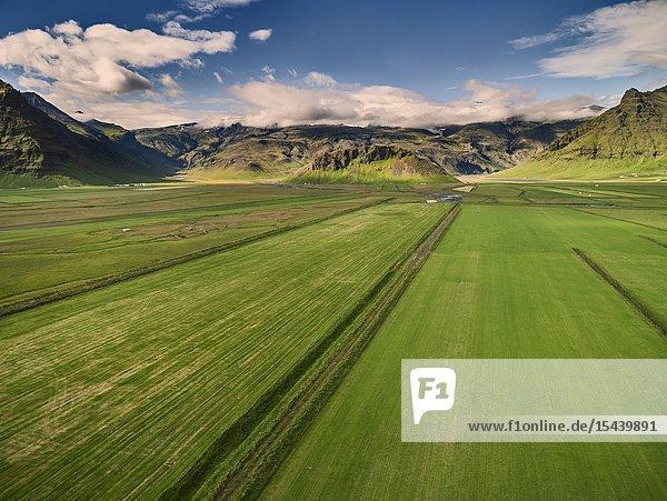Farmland  The Eyjafjoll area  South Coast  Iceland.