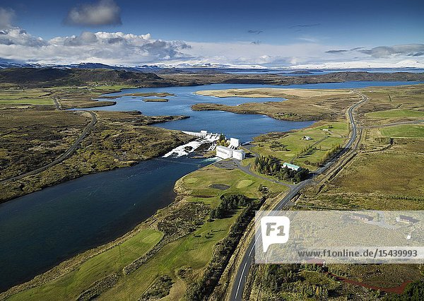 Coastline Sellfoss  South Coast Iceland. This image is shot from a helicopter. Hydroelectric power plant  Ulfljotsvatn lake  Ljosafoss Power Station  Sellfoss  Iceland. Helicopter view.