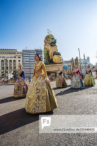 Fallas festival. Parade. Falleras  women in traditional dress. Valencia. Valencian Community. Spain.