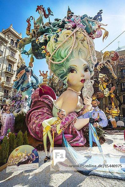 Fallas festival. Falla. Ninots  figures to be burnt during fallas festival. Valencia. Valencian Community. Spain.