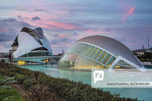 In the foreground Hemisferic. In the background Queen Sofia Arts Palace.City of Arts and Sciences. Architect Santiago Calatrava. Valencia. Comunidad Valencia. Spain. Europe.