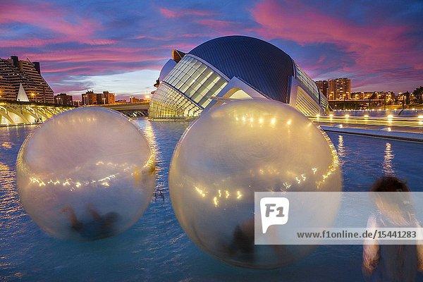 Hemisferic. City of Arts and Sciences. Architect Santiago Calatrava. Valencia. Comunidad Valencia. Spain. Europe.