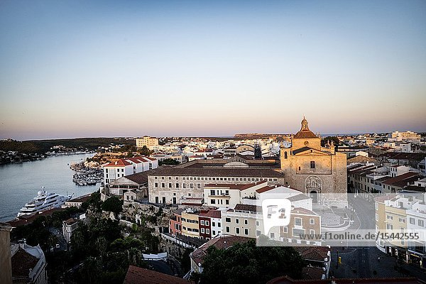 View of the port and city at dusk. Mahon Menorca  Balearic Islands  Spain  Europe.