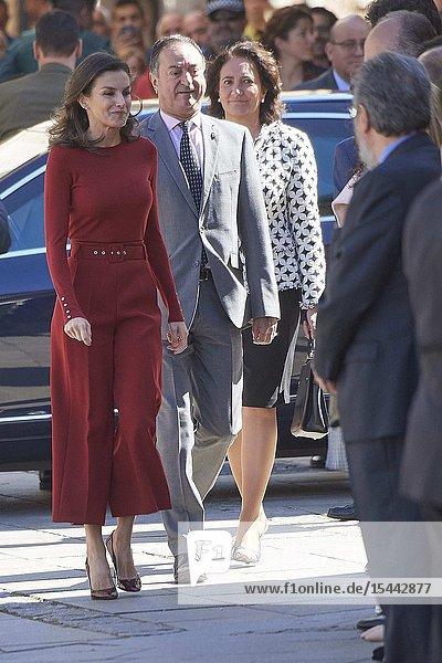 Queen Letizia of Spain attends the closure Of Journalist's Seminar 'Como Los Medios De Comunicacion Pueden Ayudar A Repoblar La España Rural' on June 12  2019 in Burgo de Osma  Spain