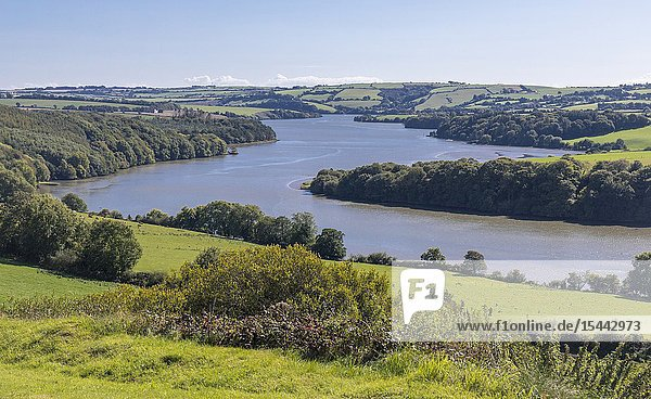 Bends in the 72 kilometer long River Bandon as it nears Kinsale  County Cork  Republic of Ireland.