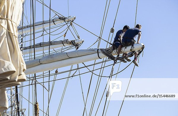 Las Palmas  Gran Canaria  Canary Islands  Spain. 18th December 2018. Crew of Norwegian tall ship Christian Radich on the rigging.