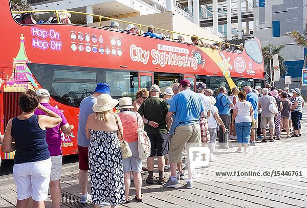 Las Palmas  Gran Canaria  Canary Islands  Spain. British tourists from cruise ship boarding city sightseeing bus.