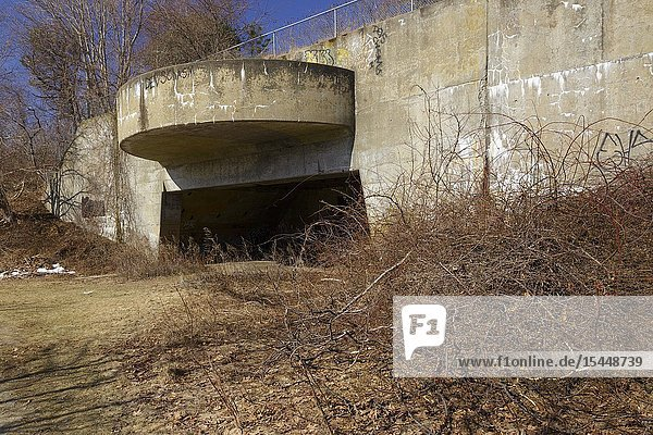 The remnants of Fort Dearborn  a World War II bunker  on the grounds of Odiorne Point State Park in Rye  New Hampshire USA during the spring months.