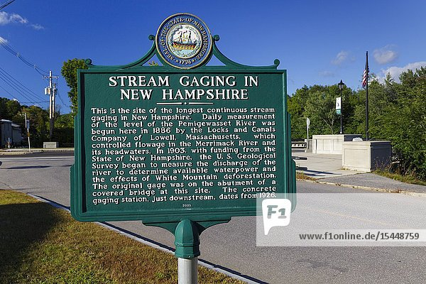Plymouth  New Hampshire - The site of the longest continuous stream gaging in New Hampshire. This site is along the Pemigewasset River in downtown Plymouth.