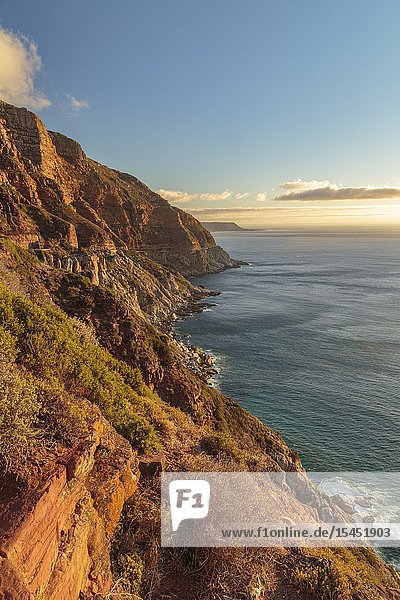 View over Chapmans peak in the evening witn warm nice light  calm sea  Western Cape  South Africa.