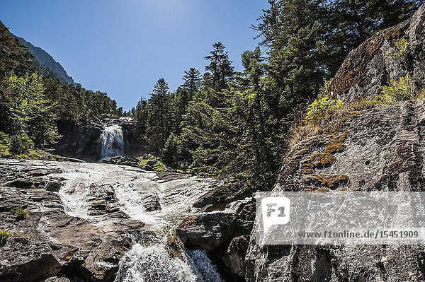 Pont d'Espagne waterfalls in Pyrenees national Park (Hautes-Pyrénées Department  Nouvelle-Aquitaine Region  France)