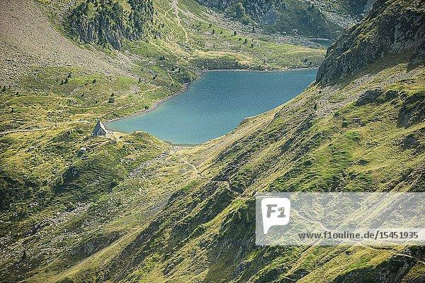 View of Ilhéou Lake in Pyrenees national Park (Hautes-Pyrénées Department  Nouvelle-Aquitaine Region  France)