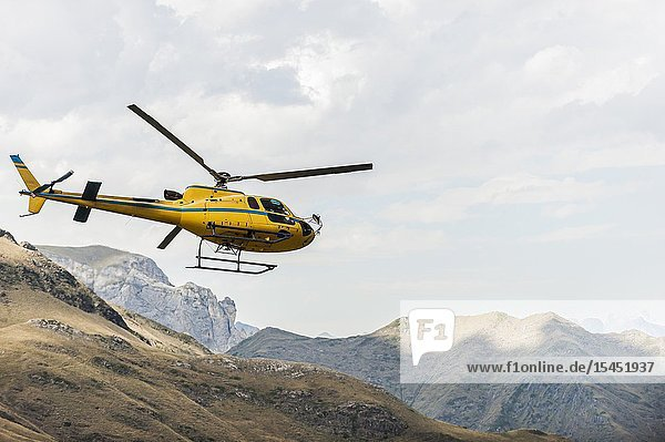 Helicopter flying in Pyrenees national Park (Hautes-Pyrénées Department  Nouvelle-Aquitaine Region  France)