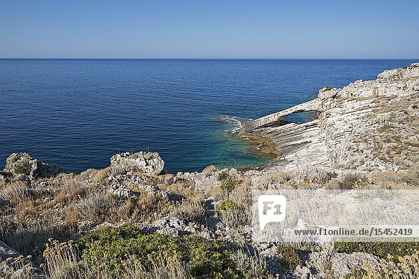 Othoni  Greece  Ionian Islands  Europe  Corfu district  south-west coast of the island double natural arch.
