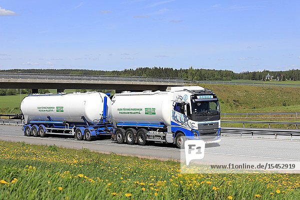 Salo  Finland. May 30  2019. Volvo FH16 tank truck of K-S Bulk Oy transports VAPO wooden pellets on motorway in Finland on a sunny day of summer.