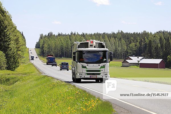 Humppila  Finland. 31 May  2019. CNG/CBG gas fuelled Scania L340 B4X2NB refuse truck of Envor group driving on highway 2 in Finland on day of summer.