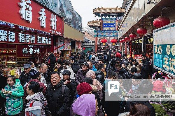 Famous Wangfujing Snack Street in Dongcheng district of Beijing  China.