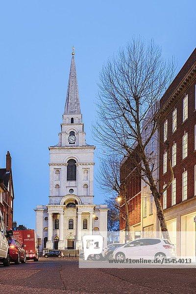 Christ Church Spitalfields from Brushfield street  East End London  UK.