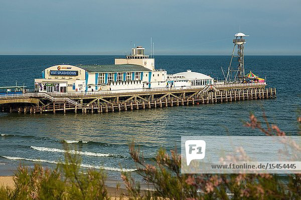Elevated views of Bournemouth Pier from the cliffs above. Dorset. England. UK.