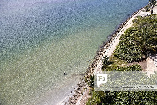 View from the Key Biscayne lighthouse  Miami-Dade  Florida  USA.