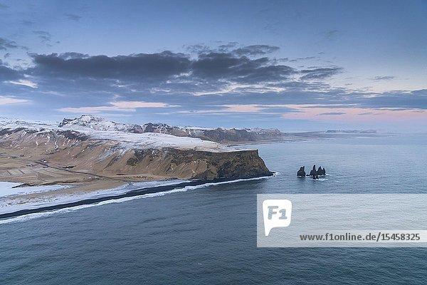 Reynisfjara beach  Mt. Reynisfjall  South Coast  Iceland.