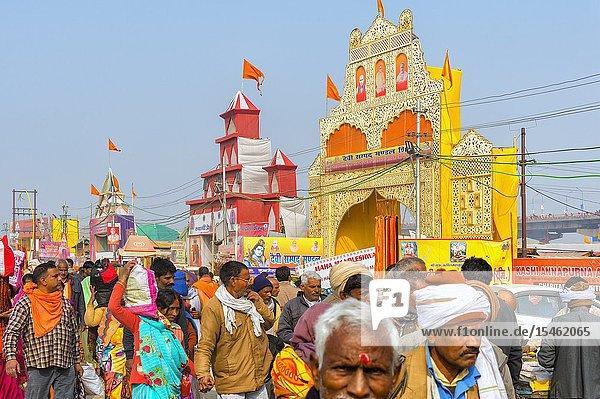 Pilgrims in Allahabad Kumbh Mela  World's largest religious gathering  Uttar Pradesh  India.