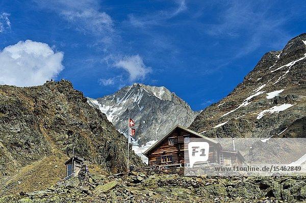 Bietschhornhütte AACB  Bietschhorn summit behind  Loetschental  Valais  Switzerland.