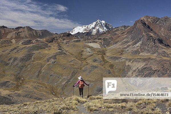 Looking out at Huayna Potosi on the Cordillera Real Traverse  Bolivia.