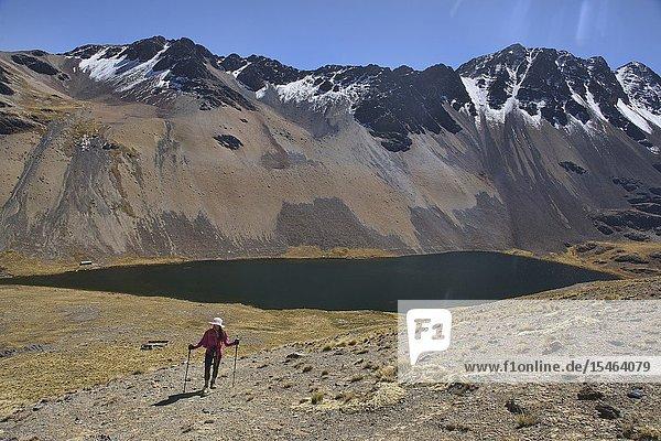Trekking above Laguna Janchallani (Laguna Sistaña) on the Cordillera Real Traverse  Bolivia.
