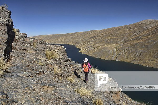 Trekking above Lake Khara Khota (Q'ara Quta) along the Cordillera Real Traverse  Bolivia.